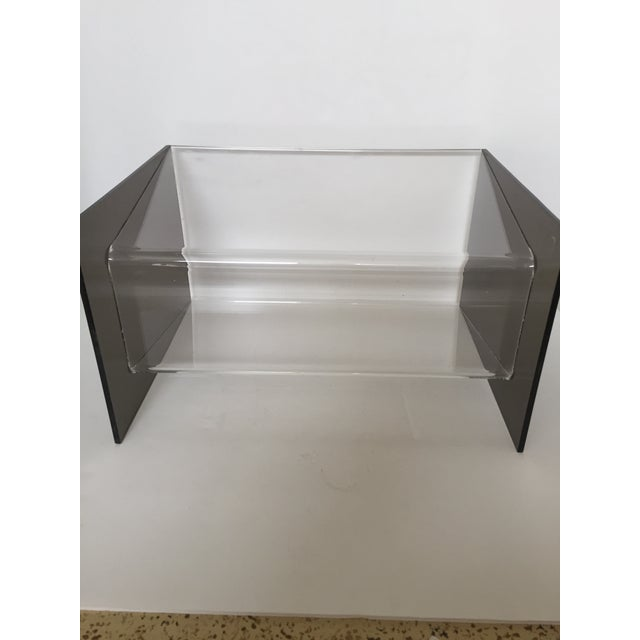 Clear & Smoky Grey Lucite Magazine Holder - Image 6 of 8