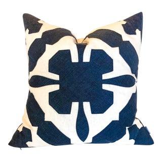 White With Navy Geometric Print Pillow