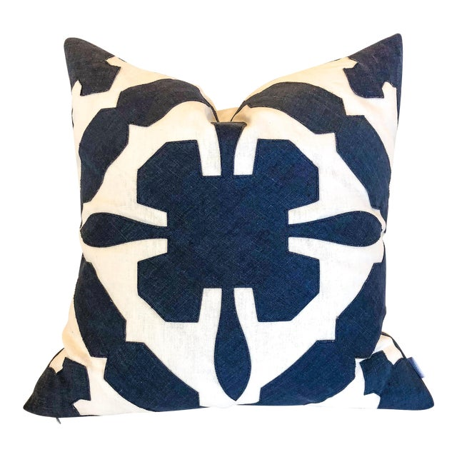 White With Navy Geometric Print Pillow For Sale