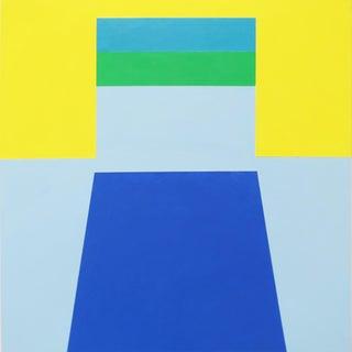 "Martha Hughes, ""Scene 58"", Geometric, Interior Space, Acrylic, Painting, Blue, Yellow, Green For Sale"