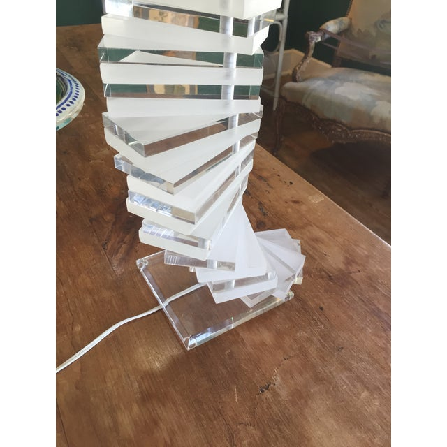 Mid-Century Modern Large Stacked Lucite Lamp - Image 4 of 4