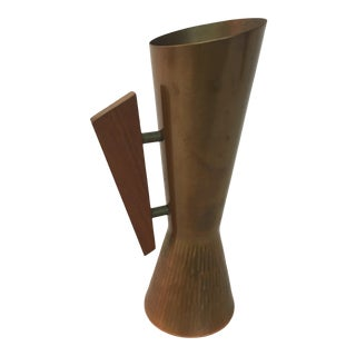 1950s Copper and Teak Modernist Pitcher For Sale