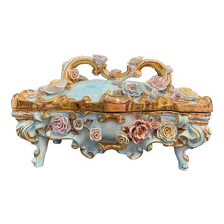 XLarge Benrose Capodimonte Porcelain Box For Sale