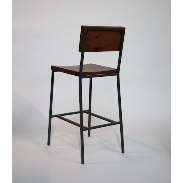 Bar Stool Made of Black Metal Steel with Wooden Seat and Back.