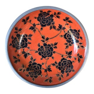 Vintage Orange and Black Bowl With Metal Surround For Sale