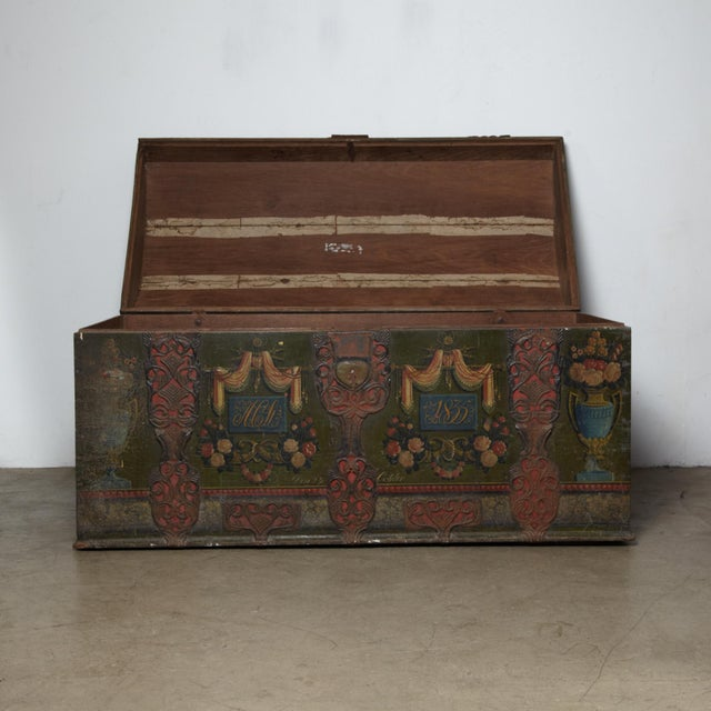 Danish Original Painted Dowry Chest Circa 1835 For Sale - Image 4 of 11