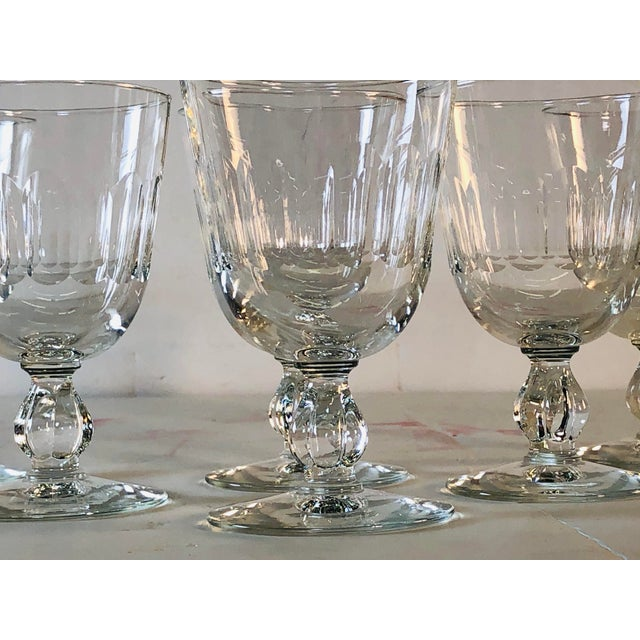 1950s Mitred Glass Wine Stems, Set of 6 For Sale - Image 4 of 9