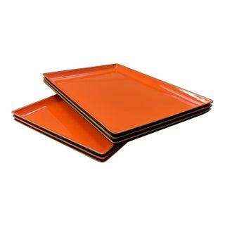 Vintage Japanese Sushi Plates in Hermes Orange – Set of 6