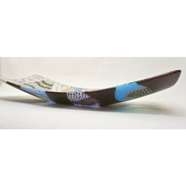 Contemporary Italian Silver, Blue, Green Murano Glass Mosaic Centerpiece on Red For Sale - Image 10 of 12