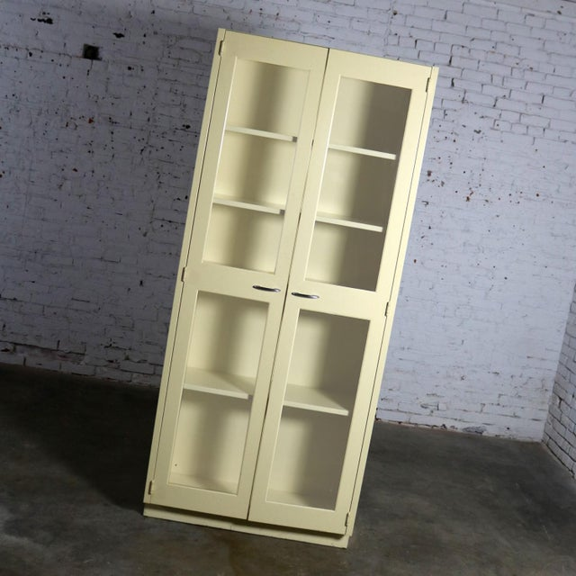 Americana Industrial Metal 36 Inch Wide Display Cabinet or Bookcase With Glass Doors For Sale - Image 3 of 13