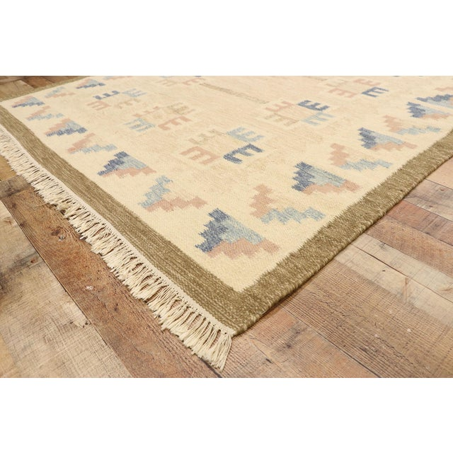 Mid 20th Century Vintage Scandinavian Modern Style Swedish Kilim Rug - 5'8 X 7'7 For Sale - Image 5 of 9