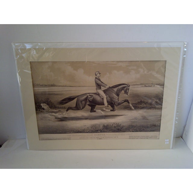 """This is an original Currier & Ives lithograph. Titled, """"The King of the Turf"""". This print is of the celebrated horse,..."""