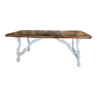 17th Century Painted Italian Trestle Table With Walnut Top For Sale