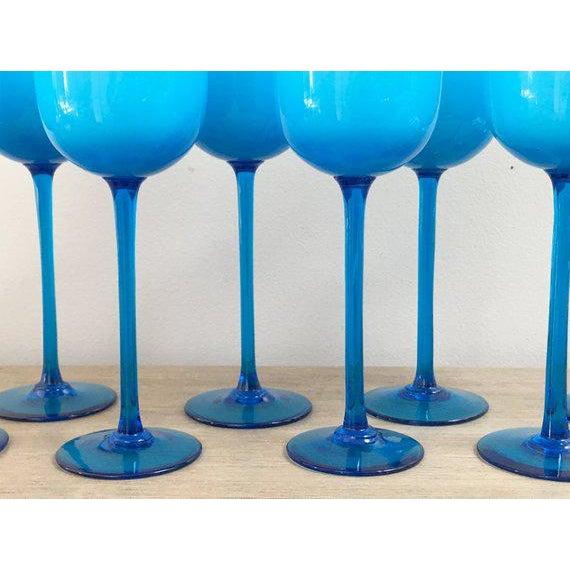 cf095626787 Carlo Moretti 1960s Carlo Moretti Blue Wine Glass Set of 8 For Sale - Image  4