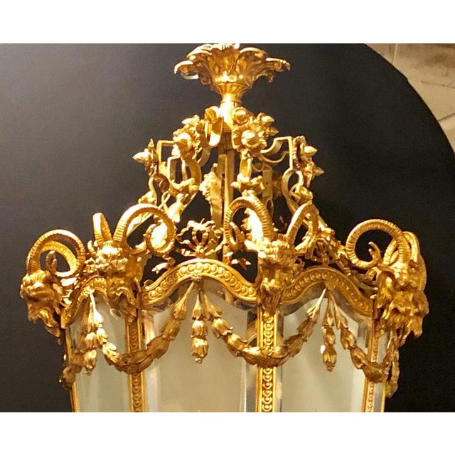 French Monumental Louis XVI Style Dore Bronze Large Rams Head Lantern For Sale - Image 3 of 12