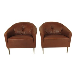 1990s Vintage Italian Club Chairs- A Pair For Sale