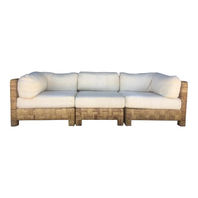 Vintage Woven Caning Sectional Sofa - Image 1 of 11