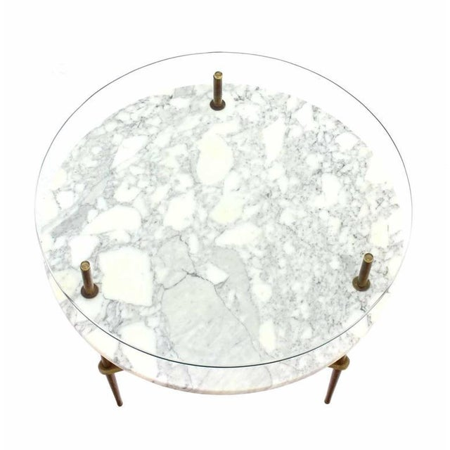 Two Tier Brass Marble & Glass Top Occasional Table For Sale In New York - Image 6 of 7