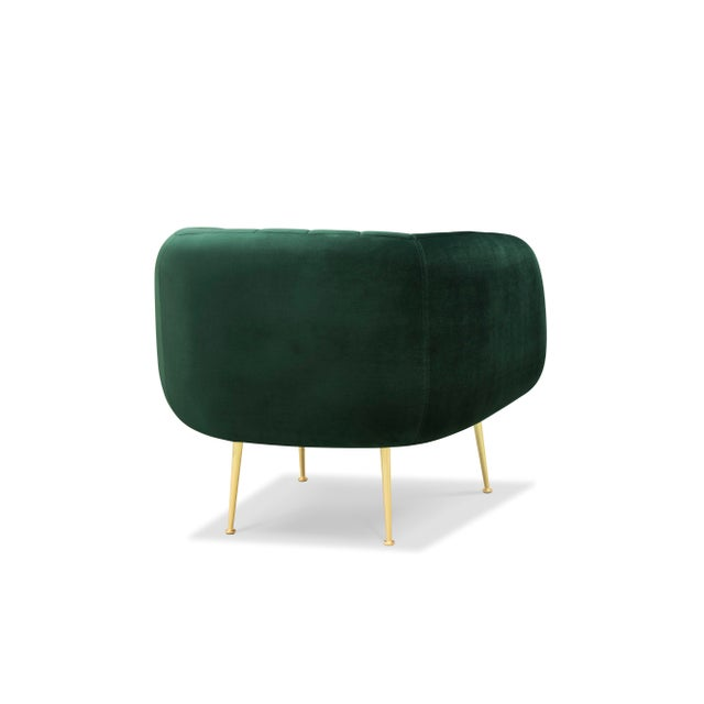 Channeled Side Chair in Dark Green - Image 2 of 6