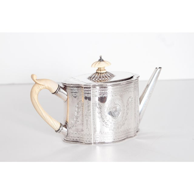 Silver 19th Century English Sterling Silver 4 Piece Coffee and Tea Service For Sale - Image 8 of 12