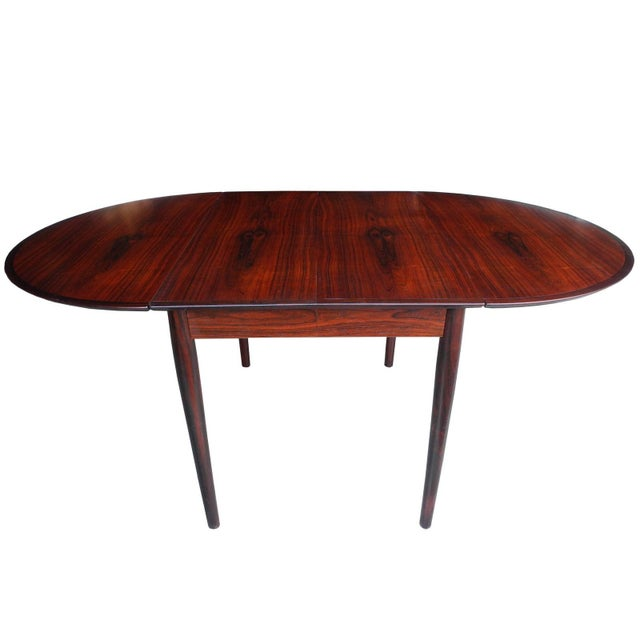 Danish Modern Drop Leaf Solid Rosewood Dining Table by Henry Rosengren Hansen For Sale - Image 9 of 10