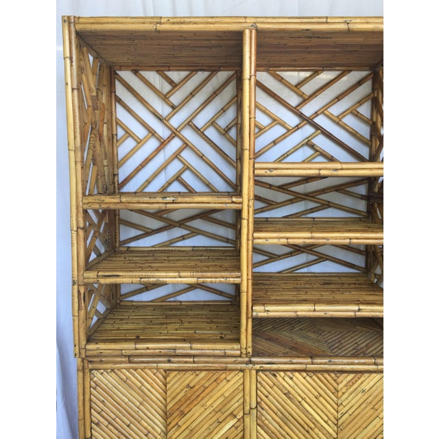Asian Vintage Split Bamboo Display Cabinet For Sale - Image 3 of 11