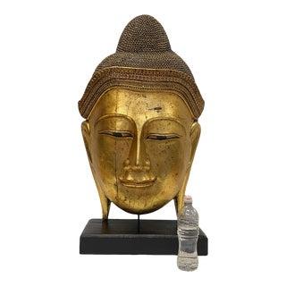Monumentally Large Carved Gilded Thai Buddha Head For Sale