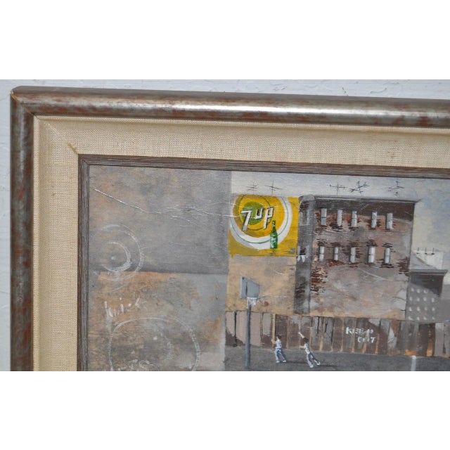 Inner City Basketball Court Oil Painting c.1970s For Sale In San Francisco - Image 6 of 9