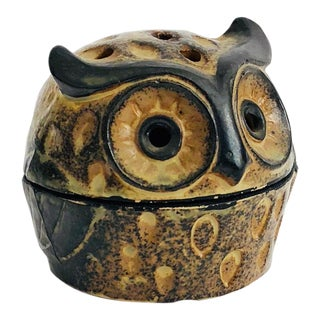 Vintage Pottery Owl Incense Holder For Sale