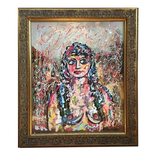 Vintage Avant Garde Abstract Oil Portrait Nude Painting For Sale