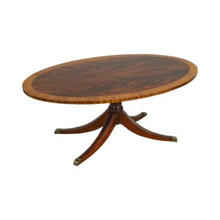 Ethan Allen Flame Mahogany Oval Duncan Phyfe Thornton Newport Coffee Table For Sale