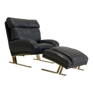 Mid Century Leather and Brass Lounge Chair and Ottoman by Directional For Sale