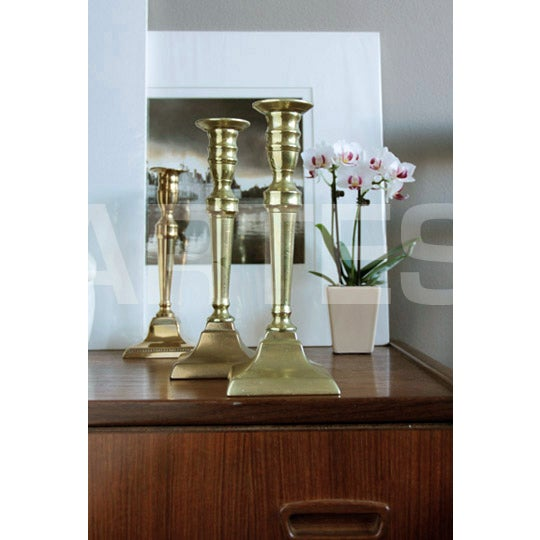 18th Century English Neo-Classical Brass Candlesticks - a Pair For Sale In Chicago - Image 6 of 6