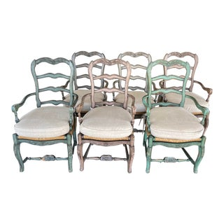 Rose Tarlow Melrose House English Rush Dining Chairs, Set of Six For Sale