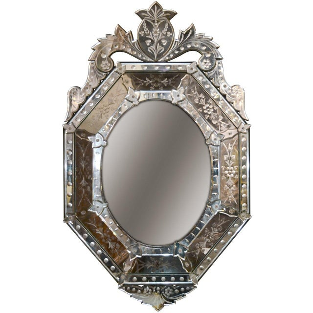 Early 20th Century Venetian Etched Cushion Mirror For Sale In Dallas - Image 6 of 6