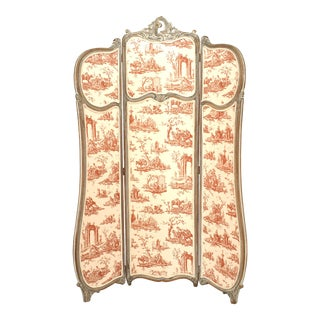 19th-20th Century French Louis XV Style Bleached Three Fold Screen For Sale