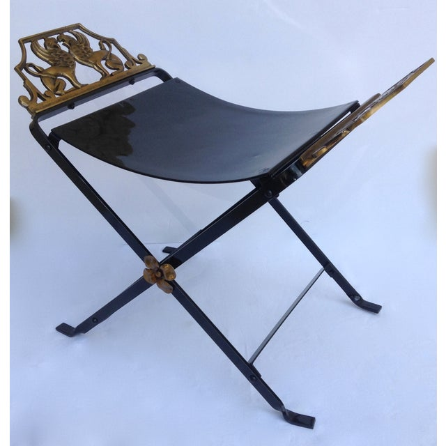 1920s Neoclassical Iron X-Frame Gryphons Bench - Image 3 of 10