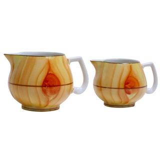 Faux Bois Porcelain Jugs - A Pair For Sale
