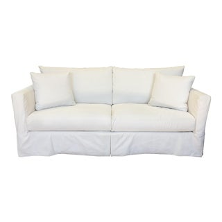 Crate & Barrel Willow Modern Slipcovered Snow Sofa For Sale
