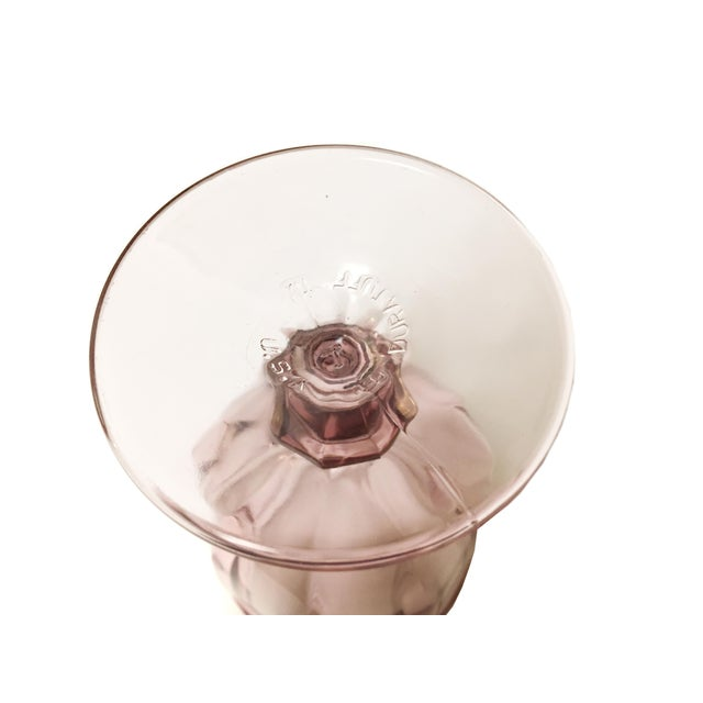 Modern Vintage Libbey Duratuff Goblets Pink Stemmed Glassware Beverage Glasses - Set of 8 For Sale - Image 3 of 4