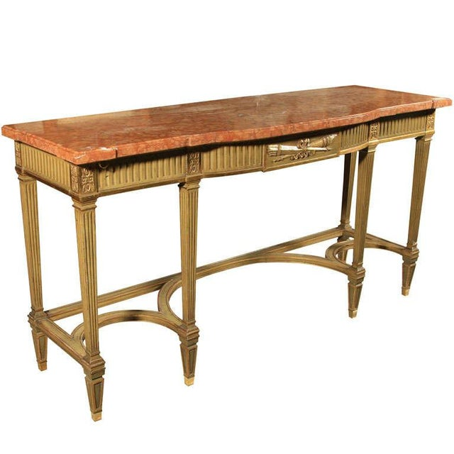 Gold Maison Jansen Coral Marble Top Console For Sale - Image 8 of 8