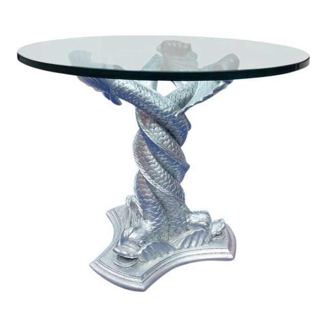 Chic Vintage Italianate Silver Leafed Carved Wood Table Intertwined Dolphins For Sale