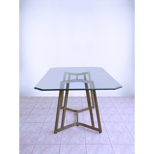 1970s Mid-Century Modern Mastercraft Space Age Brass & Glass Dining / Conference Table For Sale - Image 5 of 8
