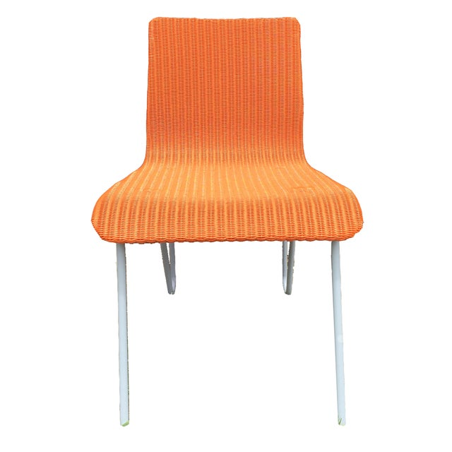 Orange Wicker & Metal Dining Chairs - Set of 8 - Image 1 of 7