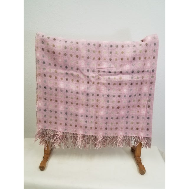 English Wool Throw Brown and White Polka Dots on Pink Background - Made in England For Sale - Image 3 of 13