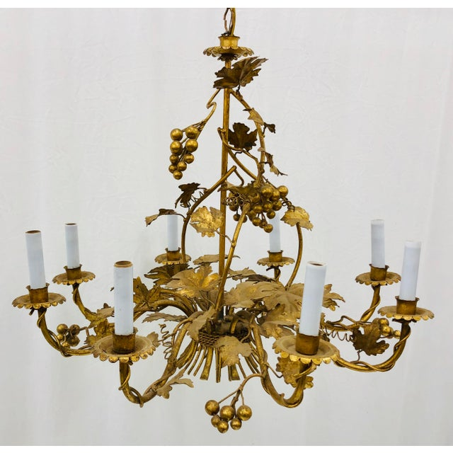 French Antique French Gilded Ivy Chandelier For Sale - Image 3 of 13
