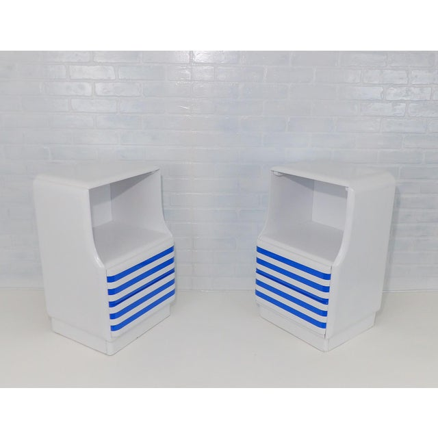 Wood Mid-Century Modern White & Blue Striped Nightstands - A Pair For Sale - Image 7 of 10