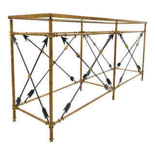 Gold Metal Console Table For Sale