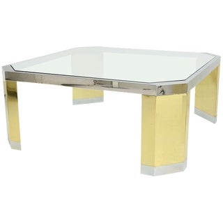 American Modern Polished Brass, Chrome and Glass Low Table