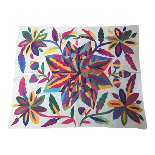 """Vintage 35"""" Mexican Otomi Embroidered Textile Hand Made For Sale"""